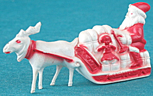 Vintage Celluloid Santa In Sleigh