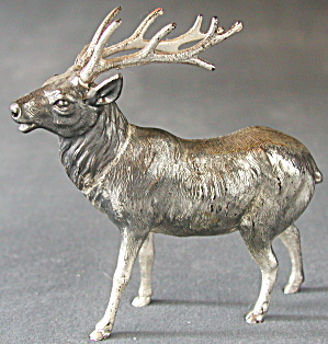 Vintage Silver Metal Reindeer Set Of 2