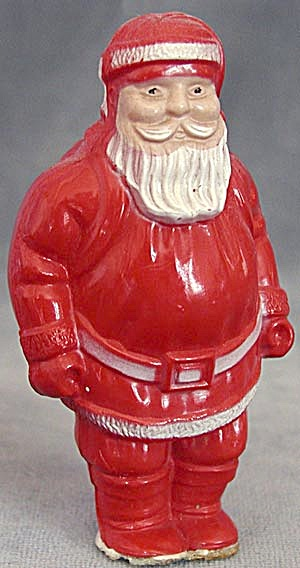 Irwin Red Celluloid Santa Claus Christmas Decoration