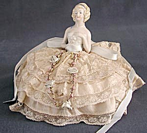 Vintage German Half Doll Pin Cushion In Gown