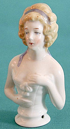 "Vintage 3 1/4"" Blonde German Half Doll Pin Cushion"