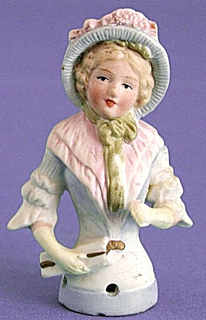 German Porcelain Lady Pin Cushion Half Doll