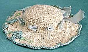 Vintage Cream And Aqua Hat Pin Cushion
