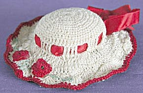 Vintage Cream And Red Hat Pin Cushion