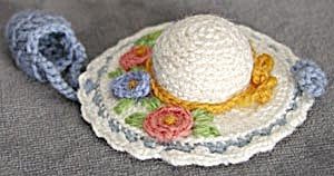 Vintage Hat Pincushion And Thimble Holder