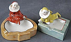 Vintage Luster Figural Clown Pierrot Ashtrays Set Of 2
