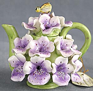 Vintage Mini Fox Glove Floral Teapot