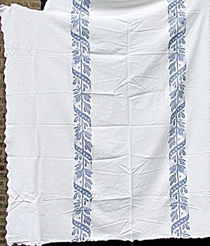 1920's Heavy Cotton Blue And White Bedspread