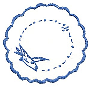 Vintage Set Of 6 Embroidered Bluebird Doilies