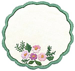 Vintage Set Of 6 Embroidered Floral Doilies