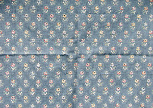 Vintage Blue With Peachy Pink Floral Upholstery Fabric