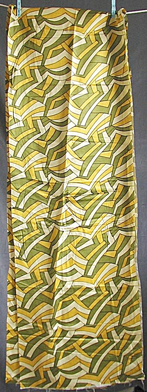 Vintage Gold & Olive Geometric Pattern Fabric