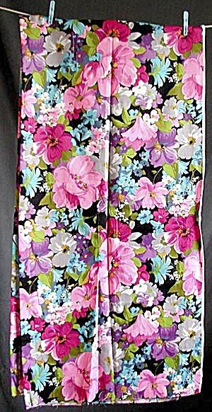 Vintage Synthetic Floral Fabric