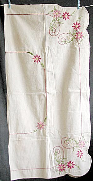Vintage Pink Flower Embroidered Tablecloth