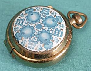 Vintage Aqua Flower Enamel Pillbox