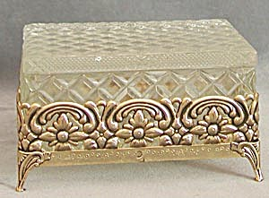 Vintage Quilted Glass Box In Metal Footed Holder