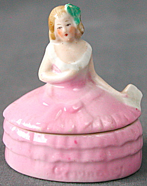 Vintage German Porcelain Lady Powder Jar Vanity Box