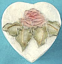 Capiz Shell Rose Heart Box