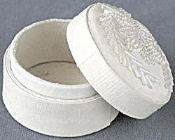 White Fabric Beaded Box