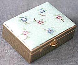 Aqua Flower Guilloche Enamel Pillbox