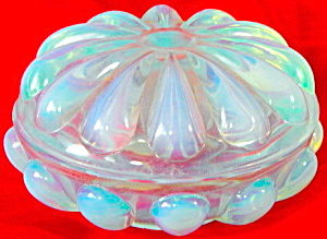 Fenton Opalescent Blue Art Glass Trinket Box