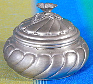 Vintage Round Pewter Trinket Box