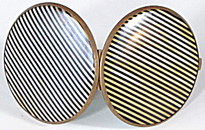 Vintage Black Striped Purse Mirror