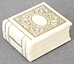 Vintage Art Deco Ivory Colored Embossed Ring Box