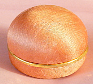 Vintage Melon Colored Silk Covered Ring Box