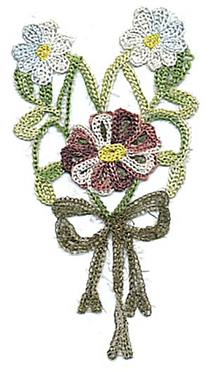 Vintage Flower And Bow Applique