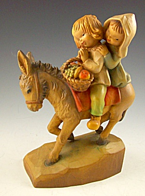 Fine Carved Wood Juan Ferrandiz Italy Children On Donkey