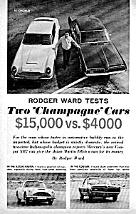 1967 Merc. Xr7 Cougar Vs. Aston Martin Db-6 Mag Article