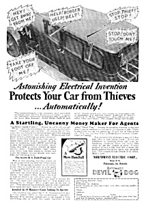 1930 Gadget To Protect From Auto Thieves Ad