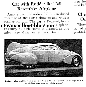 1937 Streamlined Peugeot W/tail Mag. Article