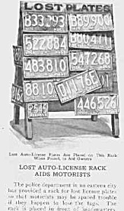 1926 Lost License Plate Display Mag Article