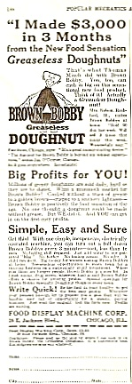 1927 Brown Bobby Greaseless Doughnut Donut Mchine Ad