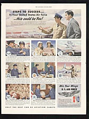 1950 Us Air Force Recruitment Aviation Cadets Print Ad