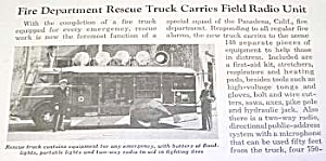 1940 Pasadena Fire Rescue Truck Mag. Article