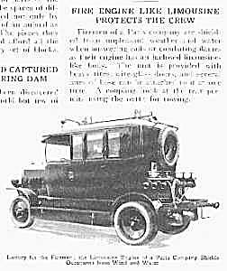 1927 Fire Engine Like Limousine Mag. Article