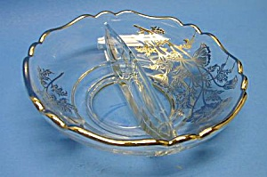 Beautiful Vint. Silver Overlay Divided Candy-nut Dish