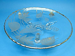 25th Anniv. Vintage Silver Overlay Footed Floral Dish