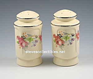 Rose Pattern Pottery Salt - Pepper Shakers Range Set