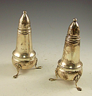 Sterling Silver Footed Salt And Pepper Shakers-weighted