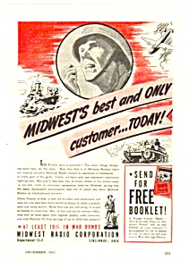 1943 Wwii Midwest Radio Mag. Ad