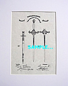 Patent Art: 1800s Knights Of Pythias Sword-matted