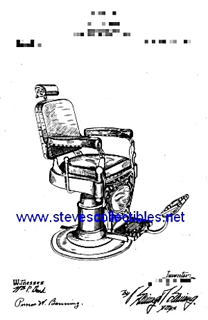 Patent Art: 1909 Barber Shop Barber Chair - Matted