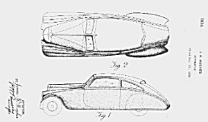 Patent Art: 1933 Pierce Arrow Silver Arrow - Matted