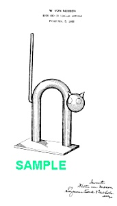 Patent Art: 1930s Art Deco Chase Cat Bookend - Matted