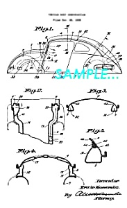Patent Art: 1945 Vw - Volkswagen Beetle Bug Body