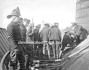 1912 Firefighters Putting Out Fire Photo - 8 X 10